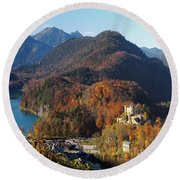 Hohenschwangau Castle And Alpsee In Bavaria Round Beach Towel
