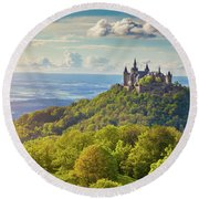 Hohenzollern Castle Sunset Round Beach Towel