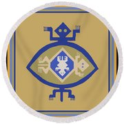 Hohokam Mimbres Turtle Family Round Beach Towel by Vagabond Folk Art - Virginia Vivier