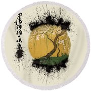 Round Beach Towel featuring the painting Hoitsu Tesshu Splatter  by Robert G Kernodle