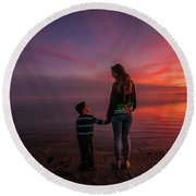 Hold My Hand Little Brother Round Beach Towel