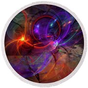 Hold On Love - Abstract Colorful Art Round Beach Towel