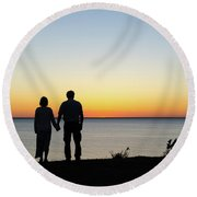 Round Beach Towel featuring the photograph Holding Hands By  Sunset  by Kennerth and Birgitta Kullman