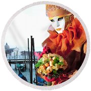 Holding Orange Bouquet Round Beach Towel
