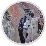 Round Beach Towel featuring the painting Holding Up The Moon by Stuart Engel