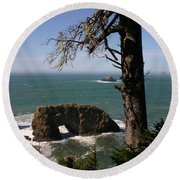 Round Beach Towel featuring the photograph Hole In One by Marie Neder