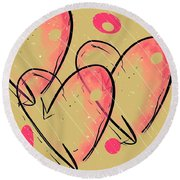 Hole Lotta Love - Neon Pink Edition Round Beach Towel