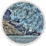 Holgate Glacier Hdr Round Beach Towel by Richard J Cassato