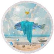 Round Beach Towel featuring the digital art Holiday At The Seaside by Alexa Szlavics