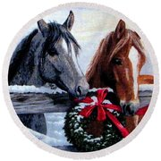 Holiday Barnyard Round Beach Towel
