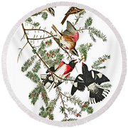 Round Beach Towel featuring the photograph Holiday Birds by Munir Alawi