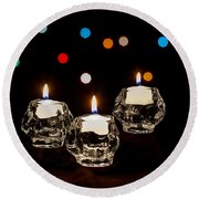 Holiday Candles Round Beach Towel