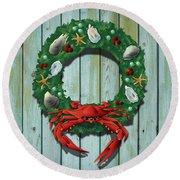 Holiday Crab Wreath Round Beach Towel