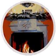 Holiday Fireplace #1 Round Beach Towel