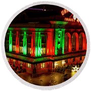 Holiday Lights At Union Station Denver Round Beach Towel by Teri Virbickis