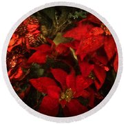 Holiday Painted Poinsettias Round Beach Towel