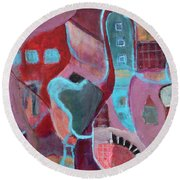Round Beach Towel featuring the painting Holiday Windows by Susan Stone