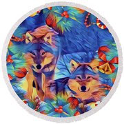 Holiday Wolves Round Beach Towel by Kathy Kelly