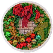 Holiday Wreath Round Beach Towel