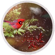 Holly Berrries Round Beach Towel
