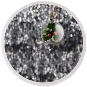 Round Beach Towel featuring the photograph Holly Christmas Bauble  by Ulrich Schade