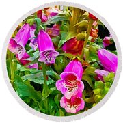 Hollyhock Detail Round Beach Towel