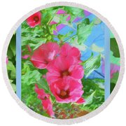 Hollyhock - Triptych Round Beach Towel