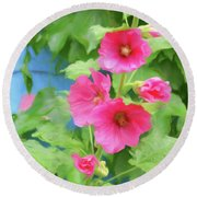 Round Beach Towel featuring the photograph Hollyhocks - 1 by Nikolyn McDonald