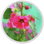 Round Beach Towel featuring the photograph Hollyhocks - 2  by Nikolyn McDonald