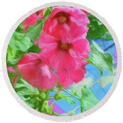 Hollyhocks - 3 Round Beach Towel