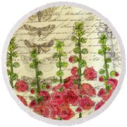 Round Beach Towel featuring the drawing Hollyhocks And Butterflies  by Cathie Richardson
