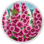 Hollyhocks And Humming Birds Round Beach Towel