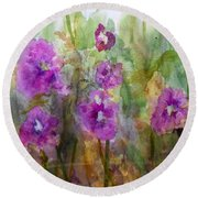 Hollyhocks Round Beach Towel by Vicki  Housel