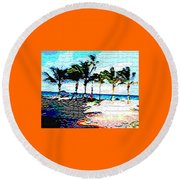 Hollywood Beach Fla Digital Round Beach Towel by Dick Sauer