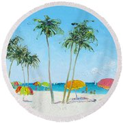 Hollywood Beach Florida And Coconut Palms Round Beach Towel