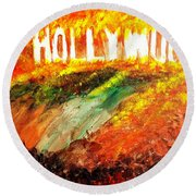 Hollywood Burning Round Beach Towel
