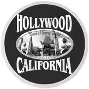 Hollywood California Design Round Beach Towel