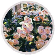 Hollywood Cottage Garden Roses Round Beach Towel