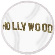 Hollywood Gold Glitter Sign Round Beach Towel