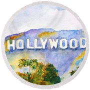 Hollywood Sign California Round Beach Towel