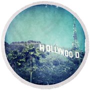 Hollywood Sign Round Beach Towel by Nina Prommer