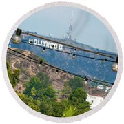 Round Beach Towel featuring the photograph Hollywood Sign On The Hill 1 by Micah May