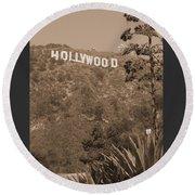 Hollywood Signage Round Beach Towel