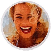 Hollywood Star Margot Robbie Round Beach Towel