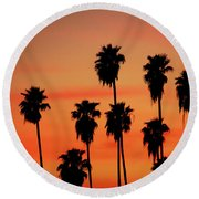 Hollywood Sunset Round Beach Towel by Mariola Bitner