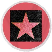 Hollywood Walk Of Fame Star Round Beach Towel