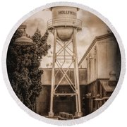 Hollywood Water Tower 2 Round Beach Towel