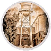 Hollywood Water Tower Round Beach Towel