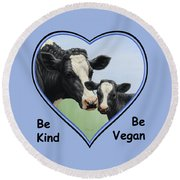 Holstein Cow And Calf Blue Heart Vegan Round Beach Towel by Crista Forest