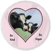 Holstein Cow And Calf Pink Heart Vegan Round Beach Towel by Crista Forest